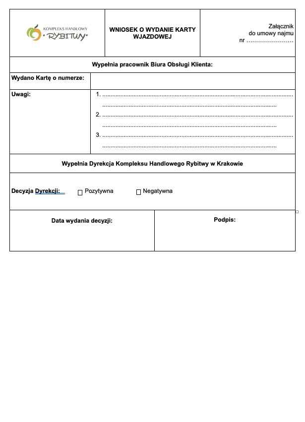 wniosek o wydanie - wzór 2