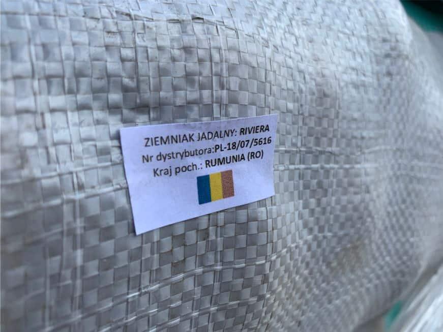 etykieta z oznaczeniem kraju pochodzenia