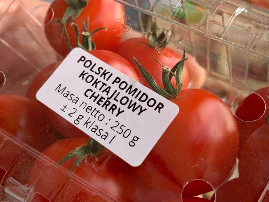etykieta dla pomidora koktailowego