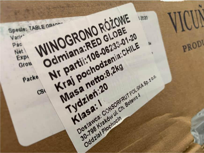 etykieta dla winogron importowanych